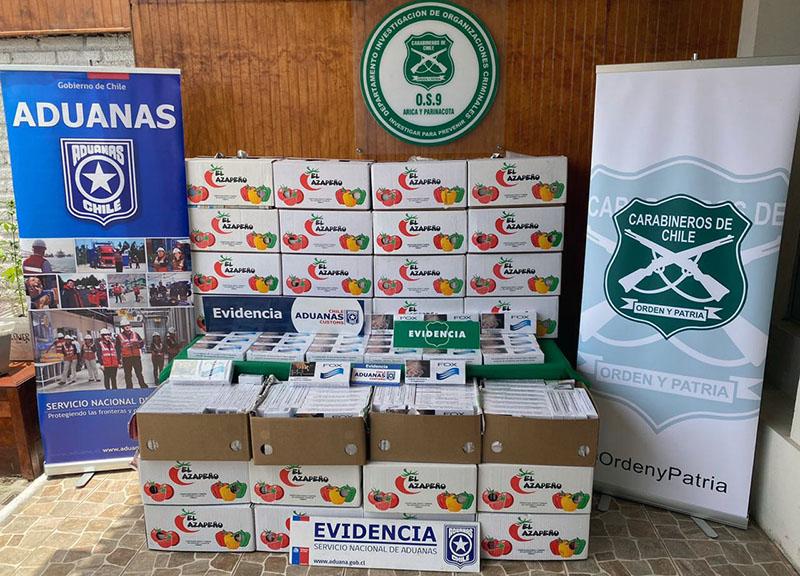 Ocultaban millonario contrabando de cigarros en cajas de frutas